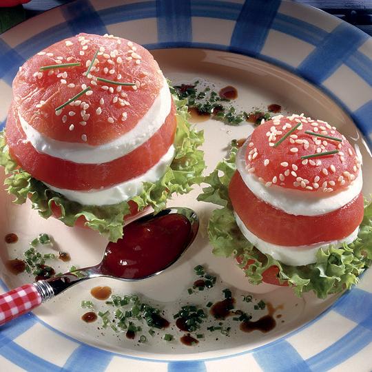 Hamburgers de tomates mozzarella